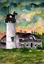 Chatham lighthouse Marthas Vineyard watercolor painting art print  lighthouses