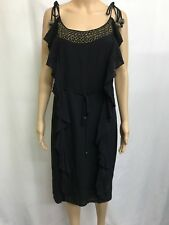 CHARLIE BROWN SIZE 10 BLACK BEADED SHOE STRING STRAP DRESS,PARTY ,SPECIAL EVENT