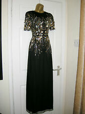 6 PETITE ASOS MAXI DRESS BLACK GOLD EMBELLISHED 20'S 30'S VINTAGE GATSBY XMAS