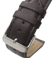 22mm Italian Genuine Leather Italy Dark Brown Smooth Watch Band Strap