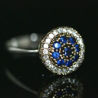 925 Sterling Silver Handmade Gemstone Turkish Sapphire Ladies Ring Size 7-12