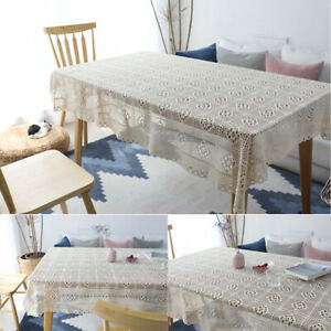 Tassel Crochet Tablecloth Dining Table Cloth Cover Wedding Party Home Decoration