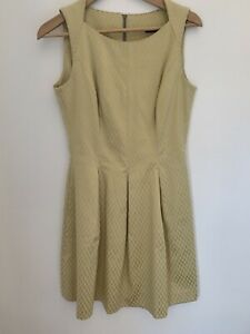 CUE in the city fit & flare zip up mid length women sleeveless Pleated Dress