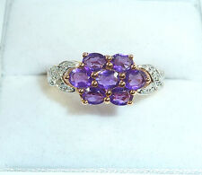 1.40ct Genuine Amethyst/Diamond Solid 10K Rose Gold Ring US (7) AU (O)