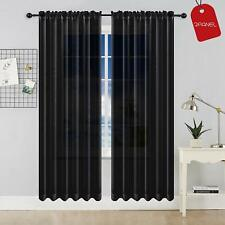 """2-Piece Sheer Voile Window Treatment Curtain Panel Drapes Solid 84"""" Long"""
