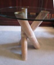 Vintage Rattan Bamboo Wicker Tempered Glass Top Coffee Table End Table