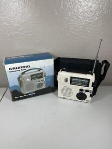 Grundig FR-200 AM FM SW Emergency Radio w/ Built in Hand Crank & Case WORKS