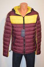 New $405 Armani Jeans AJ Blouson FW14 Maroon/Yellow Puffer Hood Coat Large XL