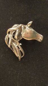 VINTAGE MODERNIST STERLING SILVER HORSE HEAD PIN /PENDANT FLOWING MANE SIGNED TH