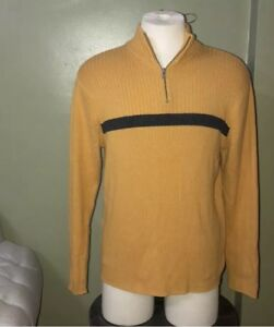 American Eagle Half Zip Sweater Mens Gold And Gray Large Vintage Slim Fit