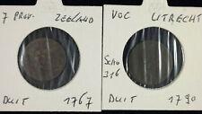 2 x Duit Niederlande Zeeland 1767 + Utrecht V.O.C. 1790   jeweils im Münzrahmen