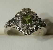 Peridot Sterling  Silver Filigree  Ring. Hearts all around.   SITE CLOSING SALE