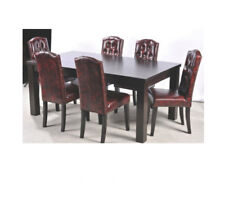 6x Chesterfield Polster Stuhl Stühle Komplette Garnitur Sitz Leder Textil Neu