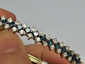 1.50ct blue white diamonds 9ct gold bangle 7inches WOW 150pts