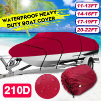 210D 11-22FT Heavy Duty Boat Cover Waterproof Fit Fish Ski Bass V-Hull