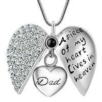 Dad Father Keepsake Heart Cremation Urn Pendant Ashes Necklace Funeral Memorial,