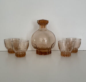 Pretty French Art Deco Pink Decanter & Glasses 1930s