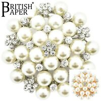 NEW SILVER OR GOLD PEARL BROOCH JOB LOT COSTUME PIN BACK BROOCHES BRIDAL BOUQUET
