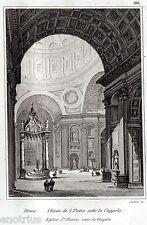 Roma: Basilica di San Pietro: sotto la Cupola. Audot.Acciaio. Stampa Antica.1836