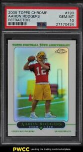 2005 Topps Chrome Refractor Aaron Rodgers ROOKIE RC #190 PSA 10 GEM MINT