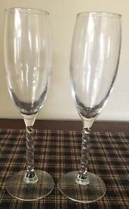 """Cris D Arques """"Angelique"""" Set Of 2 Champagne Glasses. Excellent Condition"""
