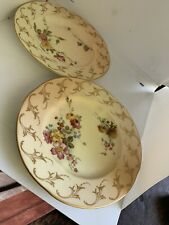 Old Pair Victorian Royal Worcester Miniature Blush Ivory Dolls House Plates 1895