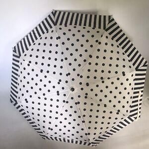 Authentic GF Ferre Milano Umbrella Black White Polka Dot Stripe Compact + Case
