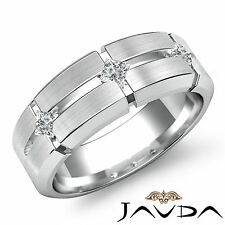Mens Half Wedding Band 14k White Gold 3 Stone Princess Bezel Diamond Ring 0.30Ct