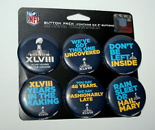 Super Bowl 48 Logo NFL Football 6 Button Pin Pack 2014 Seattle NJ / NY New Card