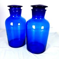 Set of 2 Cobalt (mid) Blue Vintage Apothecary Jars with Ground Glass Stoppers