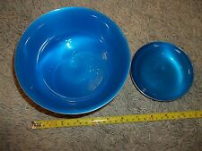 REED & BARTON BLUE Enamel on Silverplate Trophy BOWL #1120 & Matching bowl l192