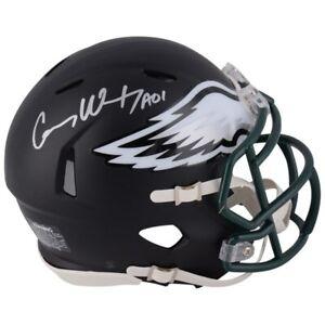 CARSON WENTZ Autographed Black Matte Philadelphia Eagles Mini Helmet FANATICS