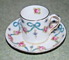 Vintage Crown Staffordshire Blue Bows Red Roses Demitasse Cup and Saucer