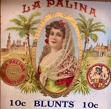 Vintage Antique La Palina Wood Cigar Box 10-Cent Blunts w/Gorgeous Inside Label