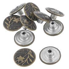 Bronze Tone Leaf Pattern Metallic Tack Buttons Rivet 10 Pcs for Jeans