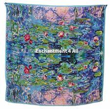 "Handmade 100% Silk Art Scarf Wrap 35""X35"" Handrolled Hem w/ Monet ""Water Lilies"""