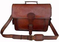 Vintage Men's Custom Real Leather Satchel Messenger Shoulder Bag Handbag Brown