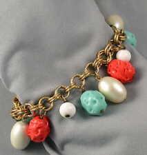 Vintage Turquoise & Coral Charm Bracelet