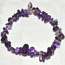 Purple Amethyst Chip Bracelet~Reiki~Intuition~Natural Crystal~Healing~Jewellery