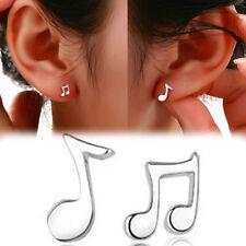 Asymmetry Music Art Design Cute Notes Silver plated Ear Stud Earrings  casa