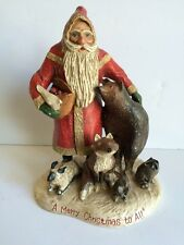 "Midwest L Schifferl Santa Woodland Animals Christmas Scene 11"" Folk Art Figurine"