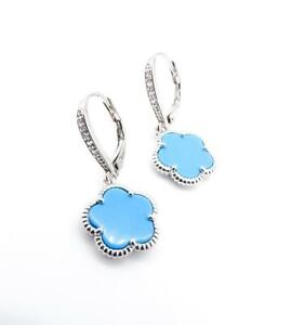 GORGEOUS 18kt White Gold Plated Crystal Blue Turquoise Clover Leverback Earrings