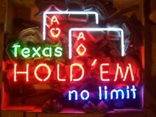 """New Texas Hold'em No Limit Pub Casino Poker Game Beer Light Neon Sign 32""""x24"""""""