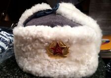 Soviet Red Russian army winter hat USHANKA WW2  Real sheepskin FUR White RARE!