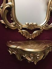Wandkonsole Gold mit Wandspiegel 50x76 Antik Barock  Wandregal Ablage Badspiegel