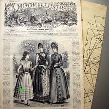 LA MODE ILLUSTREE + PATRON,  n° 16/1889 Voir modèles à réaliser, FRENCH PATTERN