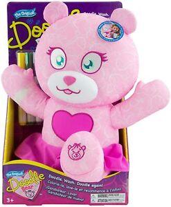 Tomy Doodle Bear Original Fashion 14'' Plush Toy with 3 Washable Marker Set Pink