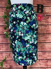 Charter Club Skirt size 8 Blue Green Pink Floral Straight Pencil Stretch Knee