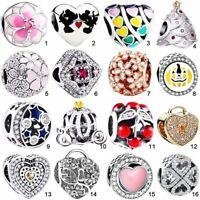 Silver charm clip bead dangle Pendant Fit European S925 bracelet bangle Necklace