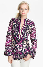 Tory Burch Tunic  $295 Daria Silk  Sz 12 / XL Classic  Resort Cruise Navy Purple